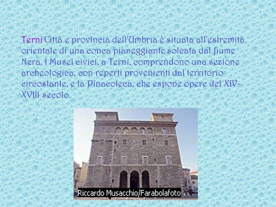 Terni Città e provincia dell Umbria è situata all estremità orientale di una conca pianeggiante solcata dal fiume Nera.