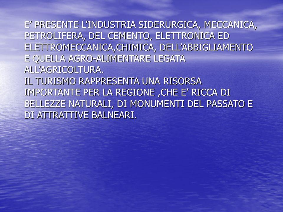 E' PRESENTE L'INDUSTRIA SIDERURGICA, MECCANICA, PETROLIFERA, DEL CEMENTO, ELETTRONICA ED ELETTROMECCANICA,CHIMICA, DELL'ABBIGLIAMENTO E QUELLA AGRO-ALIMENTARE LEGATA ALL'AGRICOLTURA.