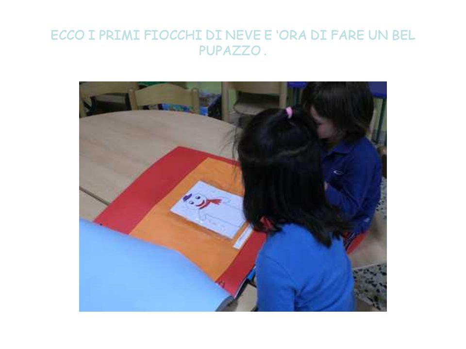 ECCO I PRIMI FIOCCHI DI NEVE E 'ORA DI FARE UN BEL PUPAZZO .