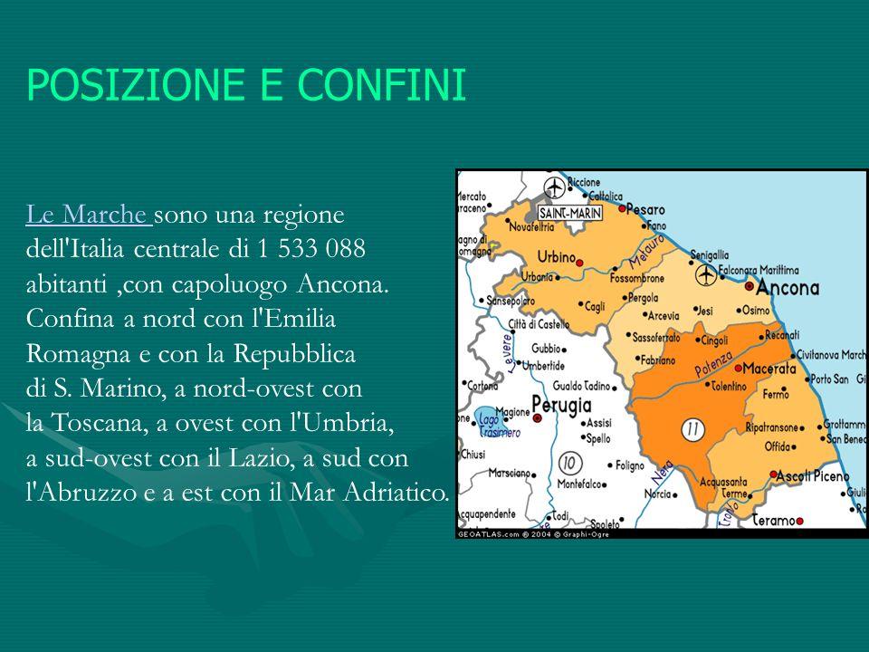 POSIZIONE E CONFINI Le Marche sono una regione