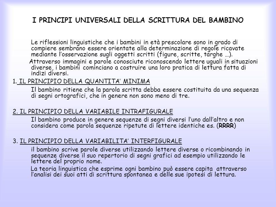 I PRINCIPI UNIVERSALI DELLA SCRITTURA DEL BAMBINO