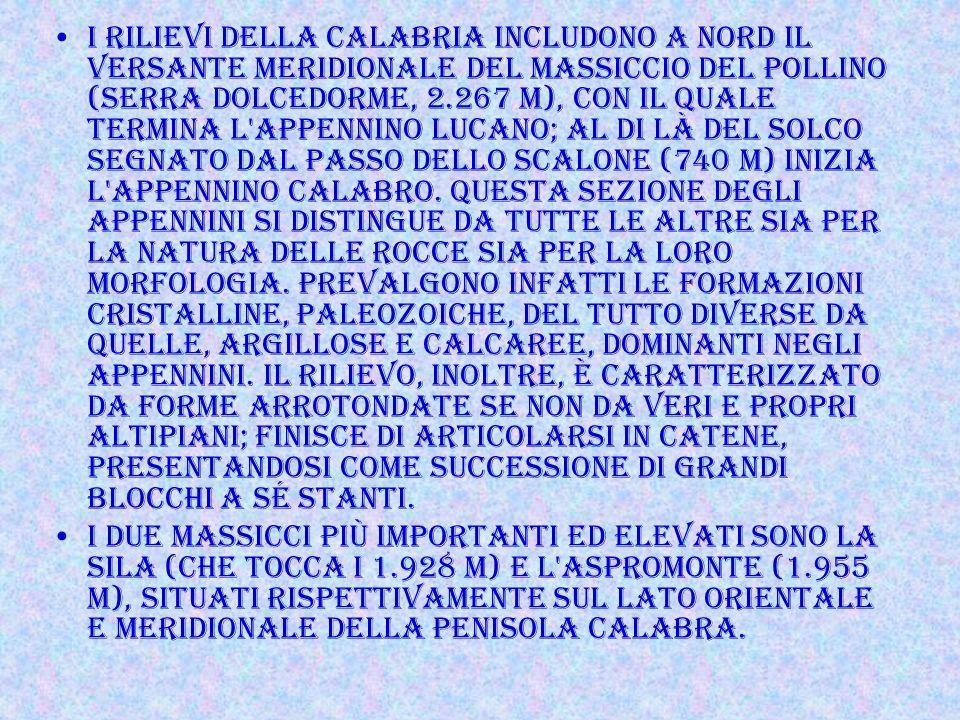 I rilievi della Calabria includono a nord il versante meridionale del massiccio del Pollino (Serra Dolcedorme, 2.267 m), con il quale termina l Appennino lucano; al di là del solco segnato dal passo dello Scalone (740 m) inizia l Appennino calabro. Questa sezione degli Appennini si distingue da tutte le altre sia per la natura delle rocce sia per la loro morfologia. Prevalgono infatti le formazioni cristalline, paleozoiche, del tutto diverse da quelle, argillose e calcaree, dominanti negli Appennini. Il rilievo, inoltre, è caratterizzato da forme arrotondate se non da veri e propri altipiani; finisce di articolarsi in catene, presentandosi come successione di grandi blocchi a sé stanti.