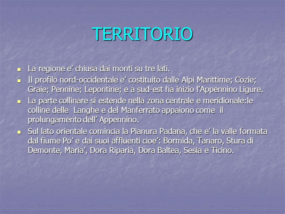 TERRITORIO La regione e' chiusa dai monti su tre lati.