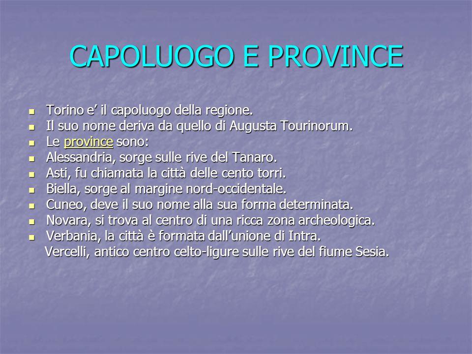 CAPOLUOGO E PROVINCE Torino e' il capoluogo della regione.