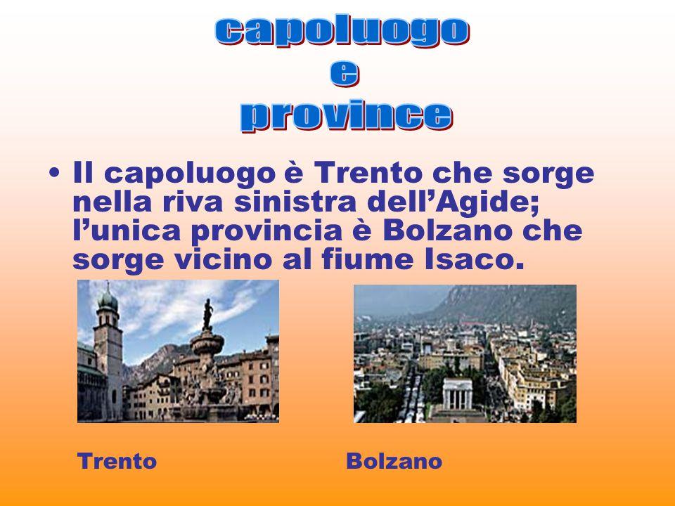 capoluogoe. province. Il capoluogo è Trento che sorge nella riva sinistra dell'Agide; l'unica provincia è Bolzano che sorge vicino al fiume Isaco.