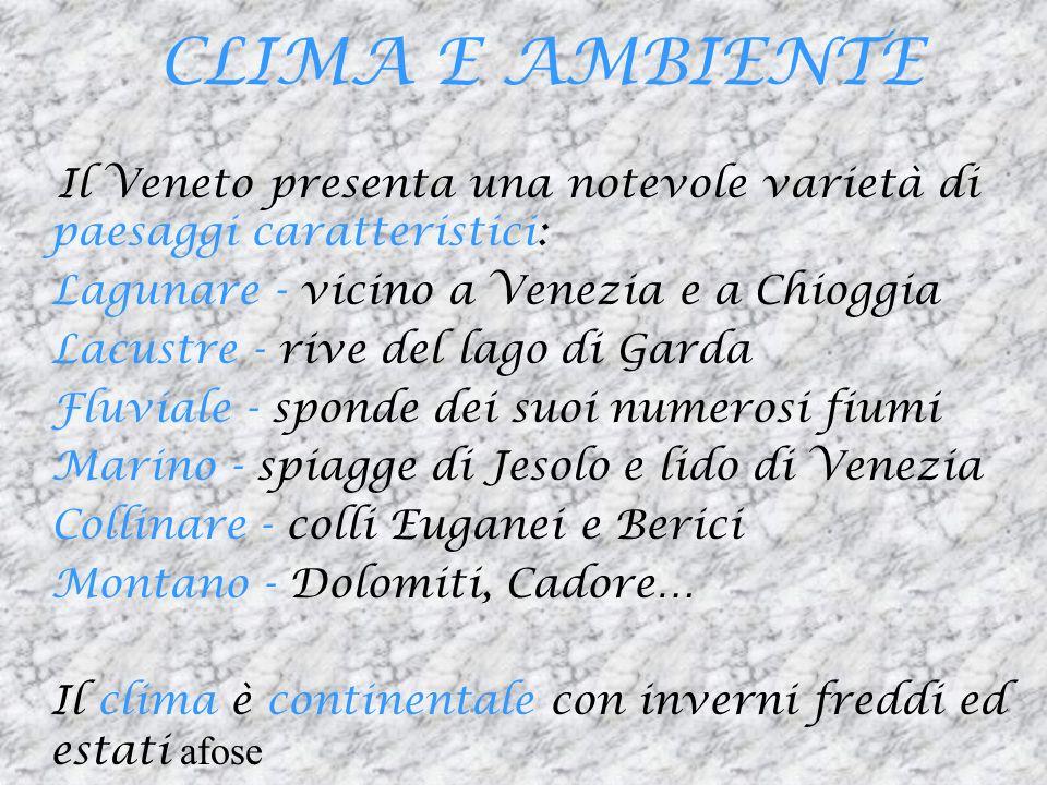 CLIMA E AMBIENTE Il Veneto presenta una notevole varietà di paesaggi caratteristici: Lagunare - vicino a Venezia e a Chioggia.