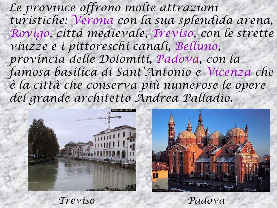 Le province offrono molte attrazioni turistiche: Verona con la sua splendida arena, Rovigo, città medievale, Treviso, con le strette viuzze e i pittoreschi canali, Belluno, provincia delle Dolomiti, Padova, con la famosa basilica di Sant'Antonio e Vicenza che è la città che conserva più numerose le opere del grande architetto Andrea Palladio.