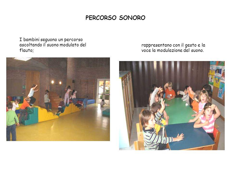 PERCORSO SONORO I bambini seguono un percorso ascoltando il suono modulato del flauto;