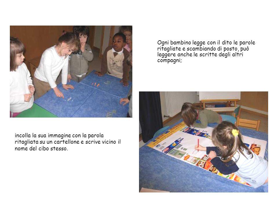 Ogni bambino legge con il dito le parole ritagliate e scambiando di posto, può leggere anche le scritte degli altri compagni;