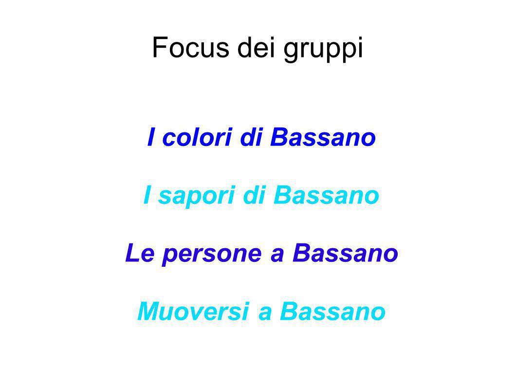 Focus dei gruppi I colori di Bassano I sapori di Bassano
