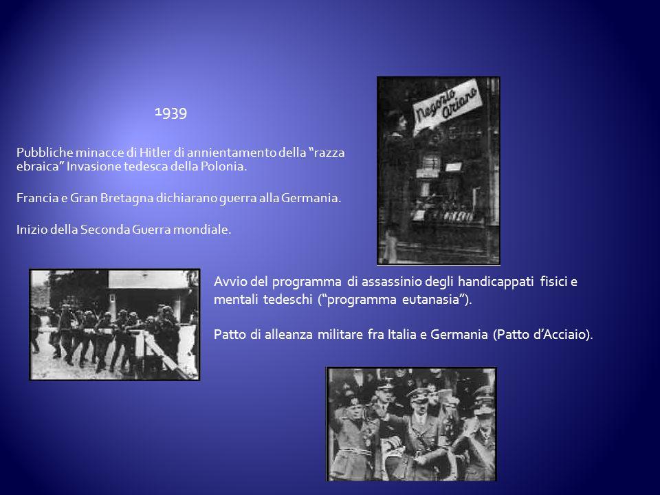1939 Pubbliche minacce di Hitler di annientamento della razza ebraica Invasione tedesca della Polonia.