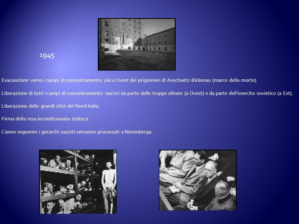 1945 Evacuazione verso i campi di concentramento più a Ovest dei prigionieri di Auschwitz-Birkenau (marce della morte).