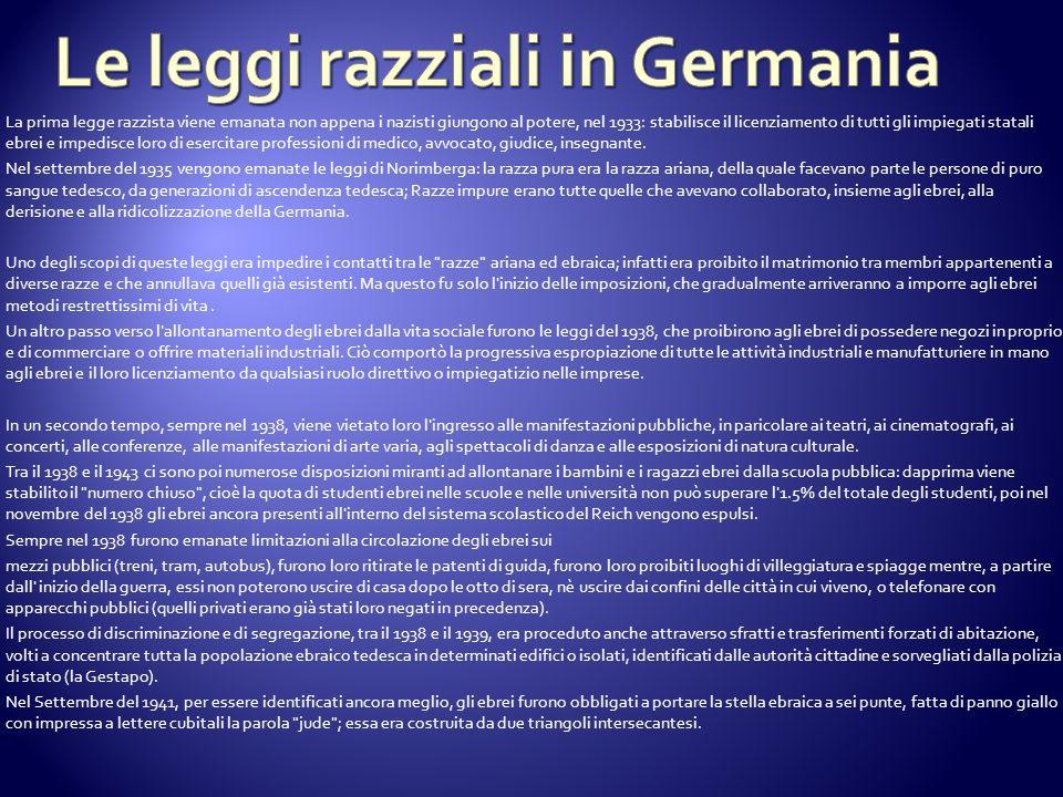 Le leggi razziali in Germania
