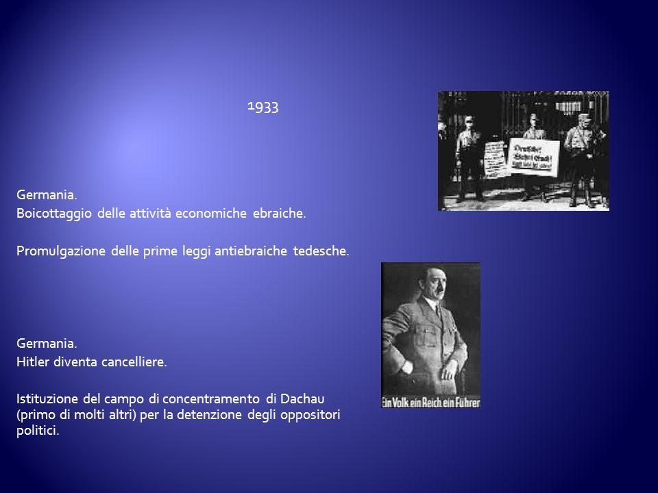1933 Germania. Boicottaggio delle attività economiche ebraiche.