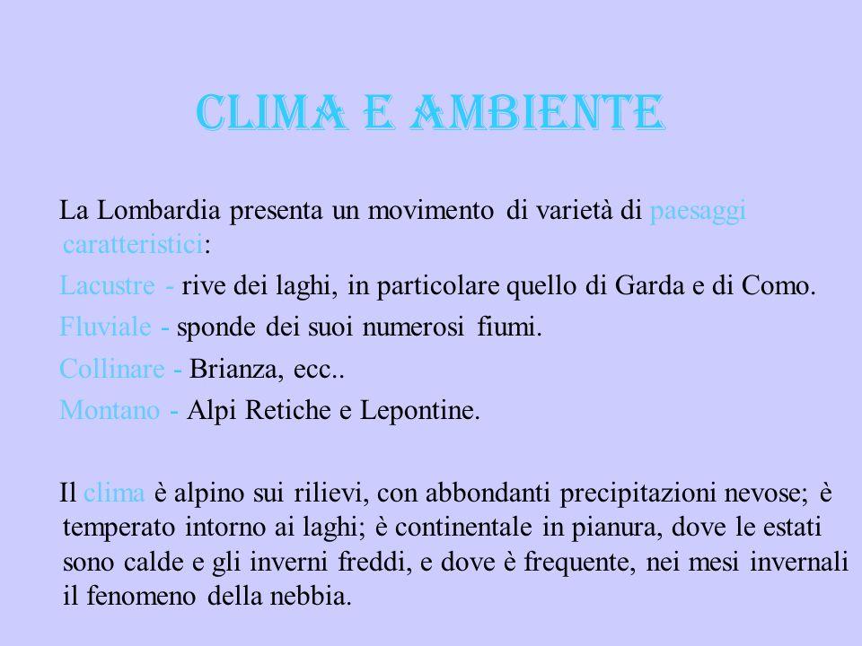 CLIMA E AMBIENTE La Lombardia presenta un movimento di varietà di paesaggi caratteristici: