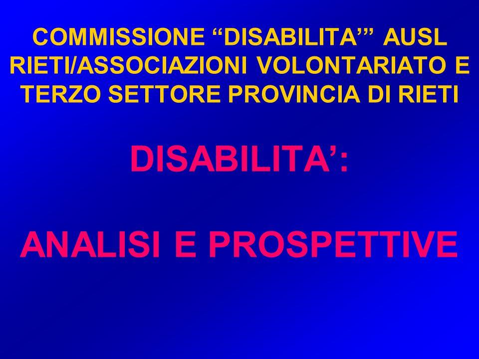 COMMISSIONE DISABILITA' AUSL RIETI/ASSOCIAZIONI VOLONTARIATO E TERZO SETTORE PROVINCIA DI RIETI DISABILITA': ANALISI E PROSPETTIVE