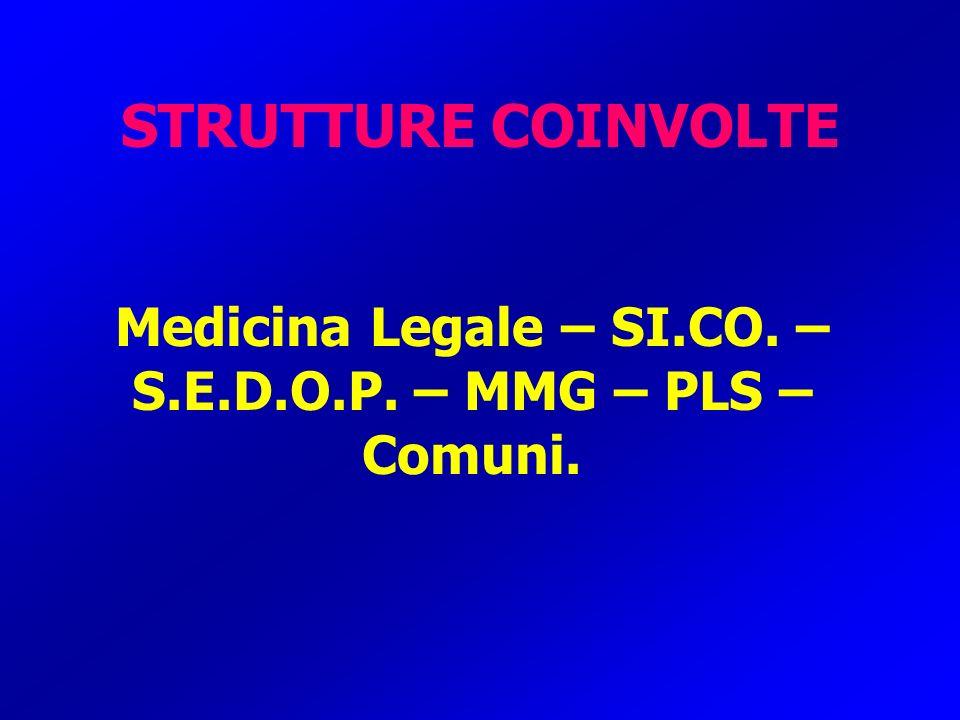 Medicina Legale – SI.CO. – S.E.D.O.P. – MMG – PLS – Comuni.