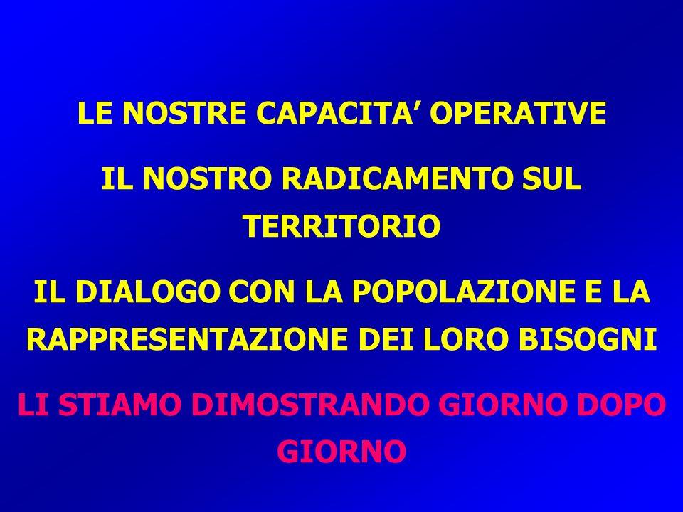 LE NOSTRE CAPACITA' OPERATIVE IL NOSTRO RADICAMENTO SUL TERRITORIO