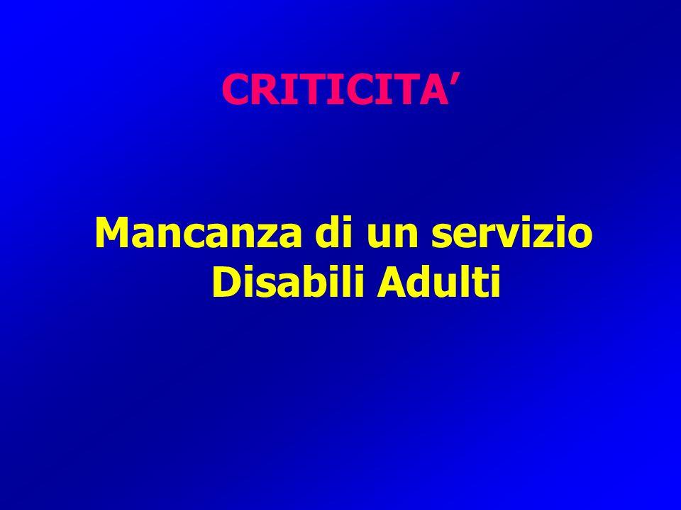 Mancanza di un servizio Disabili Adulti