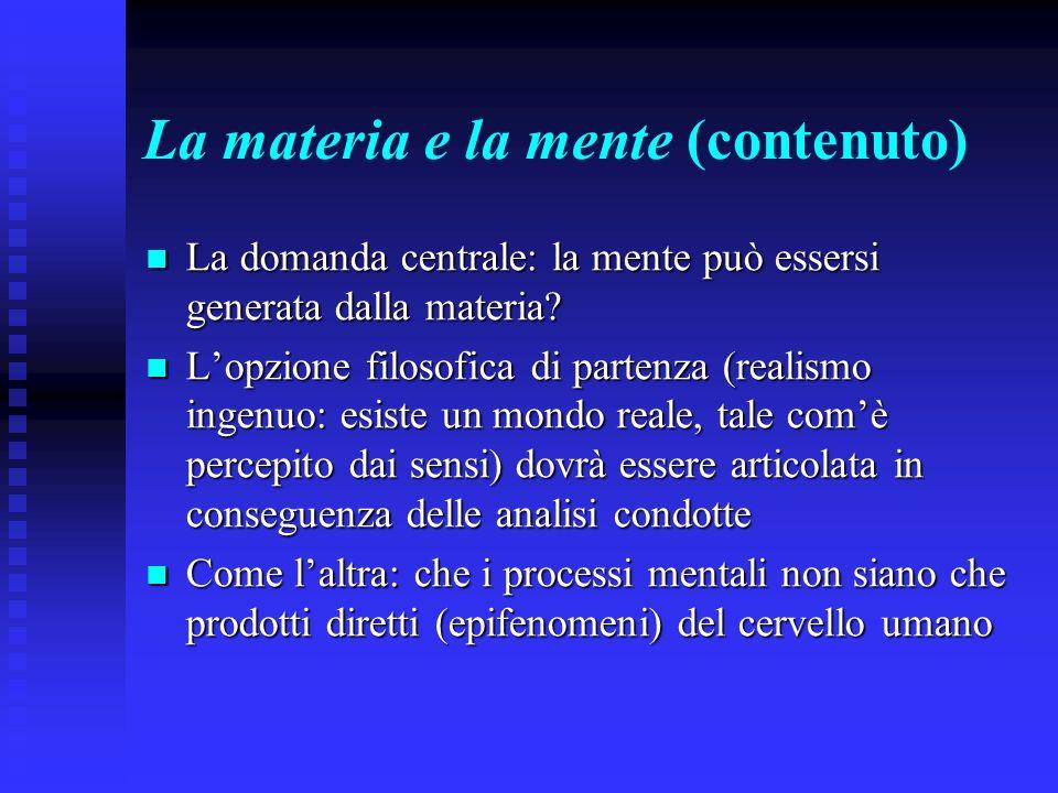 La materia e la mente (contenuto)