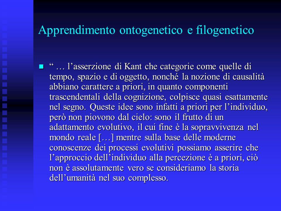 Apprendimento ontogenetico e filogenetico