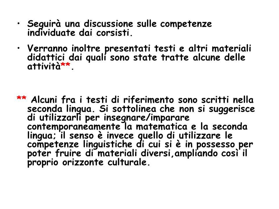 Seguirà una discussione sulle competenze individuate dai corsisti.