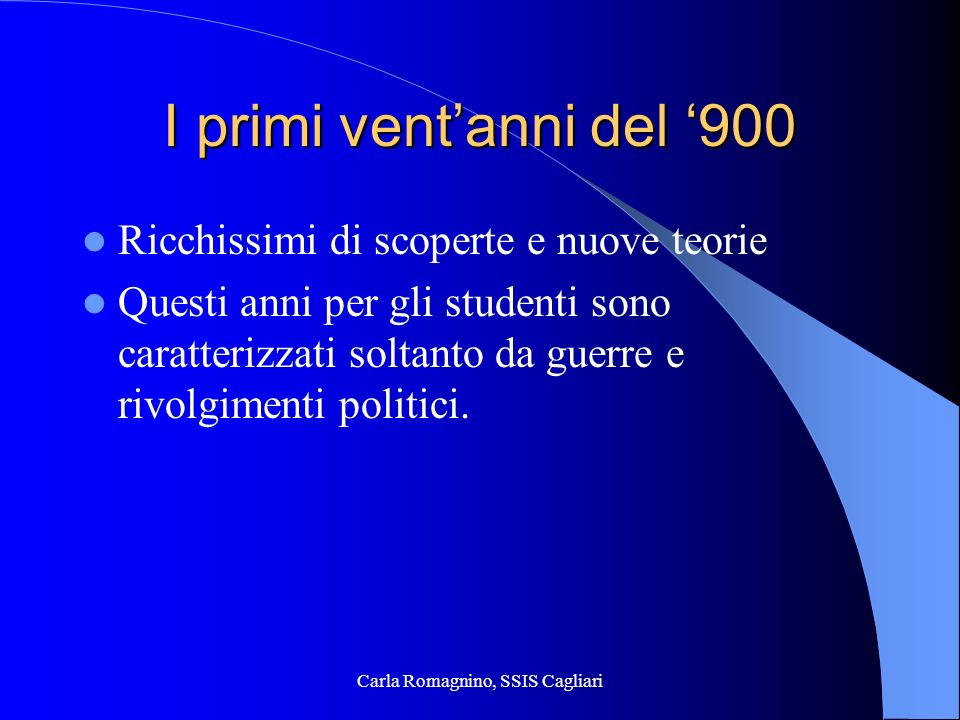 Carla Romagnino, SSIS Cagliari