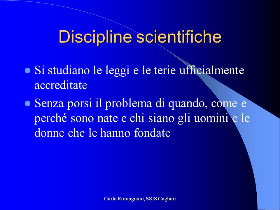 Discipline scientifiche