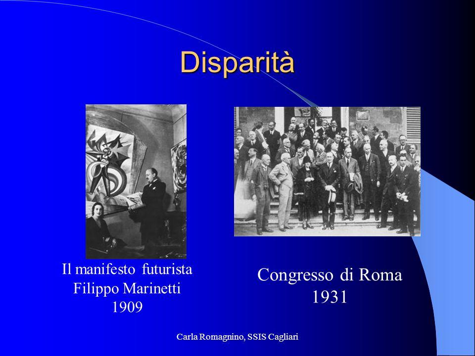Disparità Congresso di Roma 1931 Il manifesto futurista