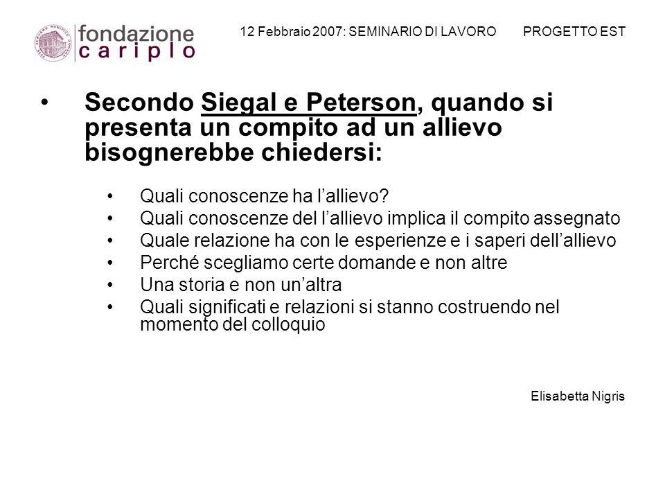 12 Febbraio 2007: SEMINARIO DI LAVORO PROGETTO EST