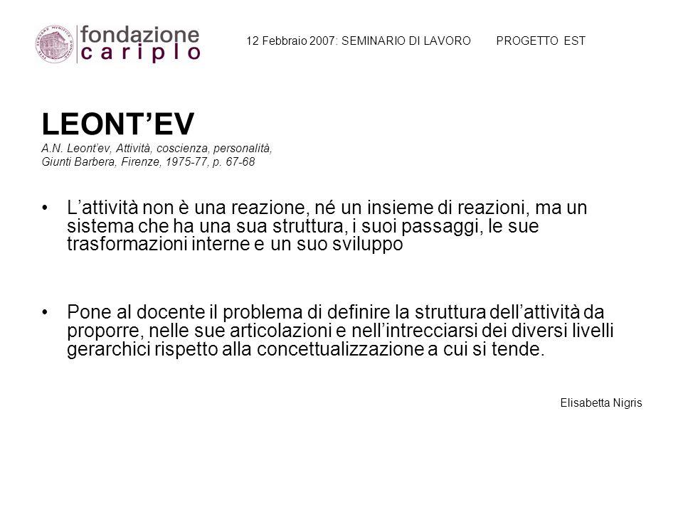 12 Febbraio 2007: SEMINARIO DI LAVORO PROGETTO EST LEONT'EV