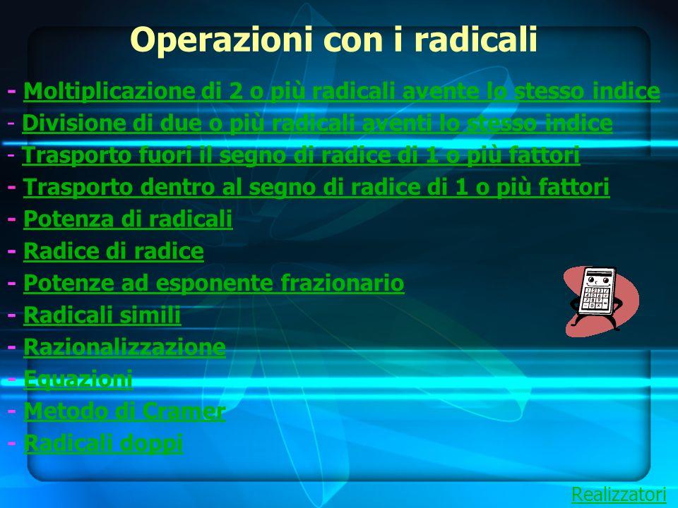 Operazioni con i radicali