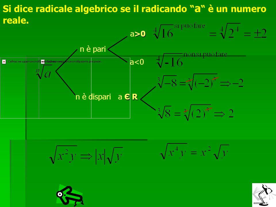 Si dice radicale algebrico se il radicando a è un numero reale.