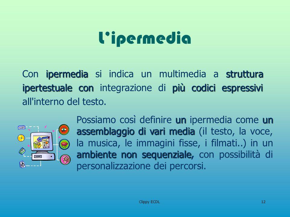 L'ipermedia Con ipermedia si indica un multimedia a struttura ipertestuale con integrazione di più codici espressivi all interno del testo.