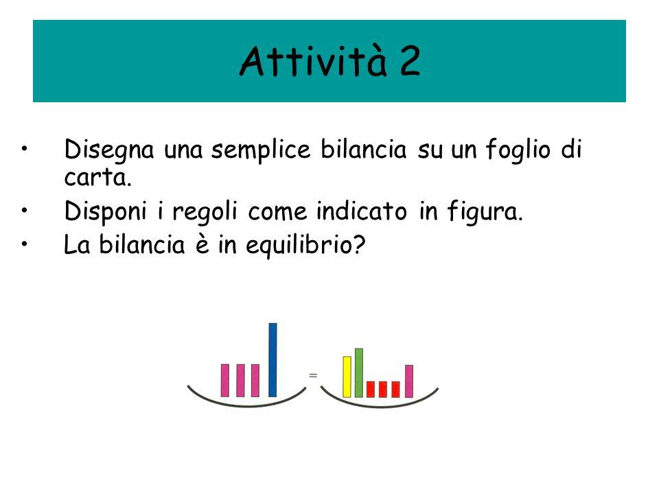 Attività 2 Disegna una semplice bilancia su un foglio di carta.