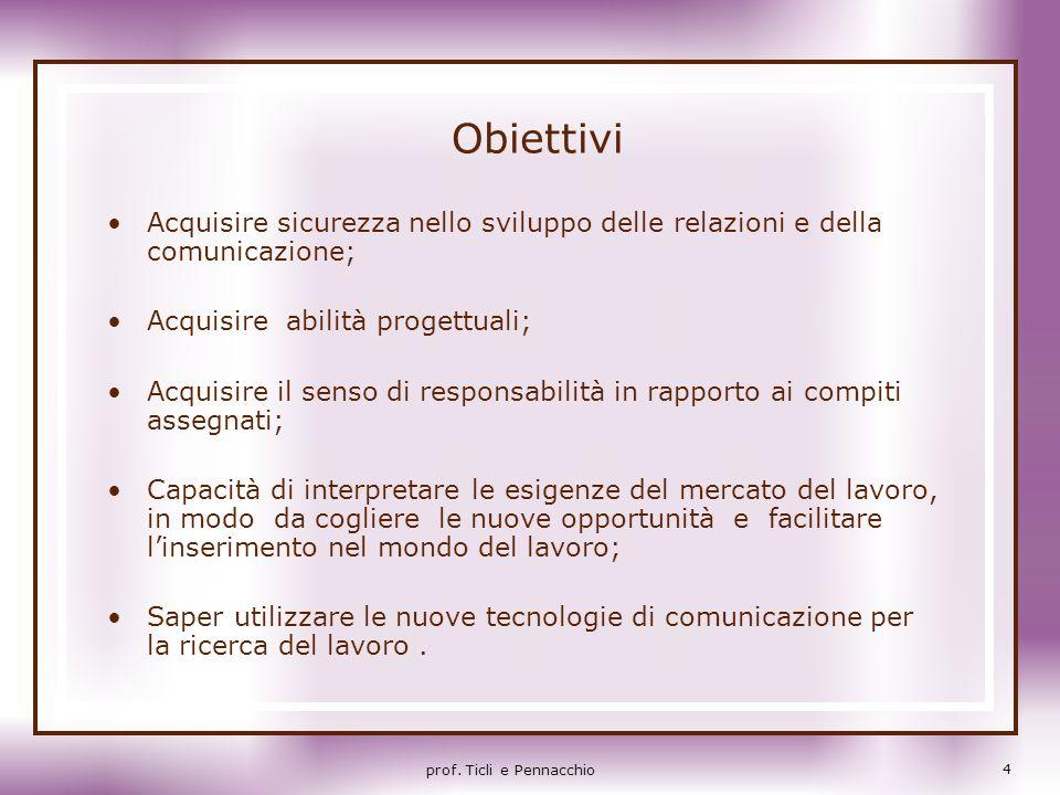 Obiettivi Acquisire sicurezza nello sviluppo delle relazioni e della comunicazione; Acquisire abilità progettuali;