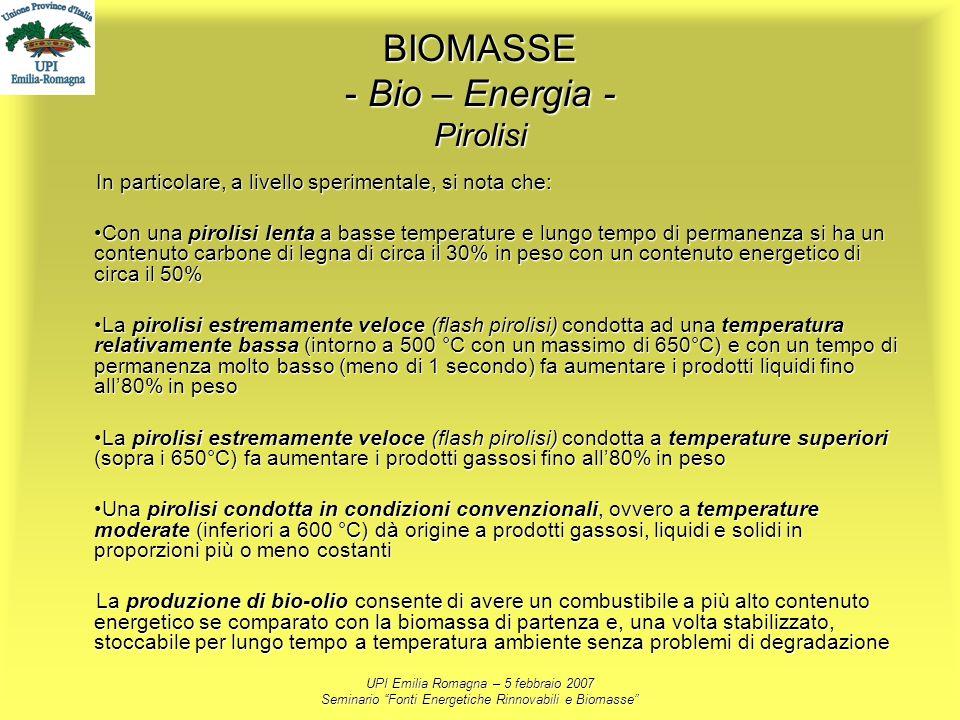 BIOMASSE - Bio – Energia - Pirolisi