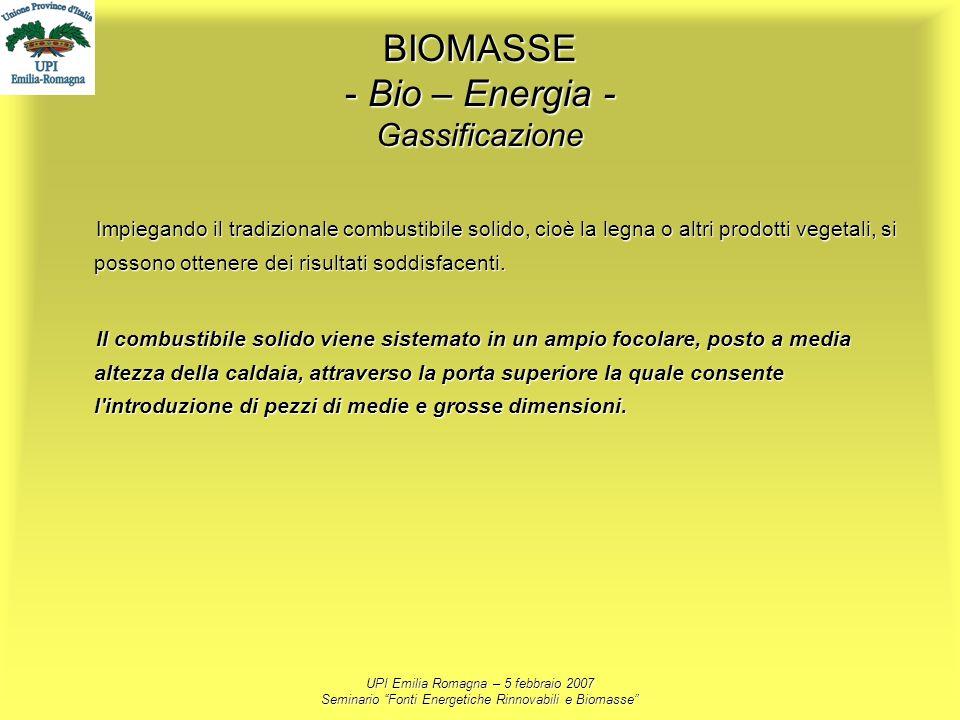 BIOMASSE - Bio – Energia - Gassificazione