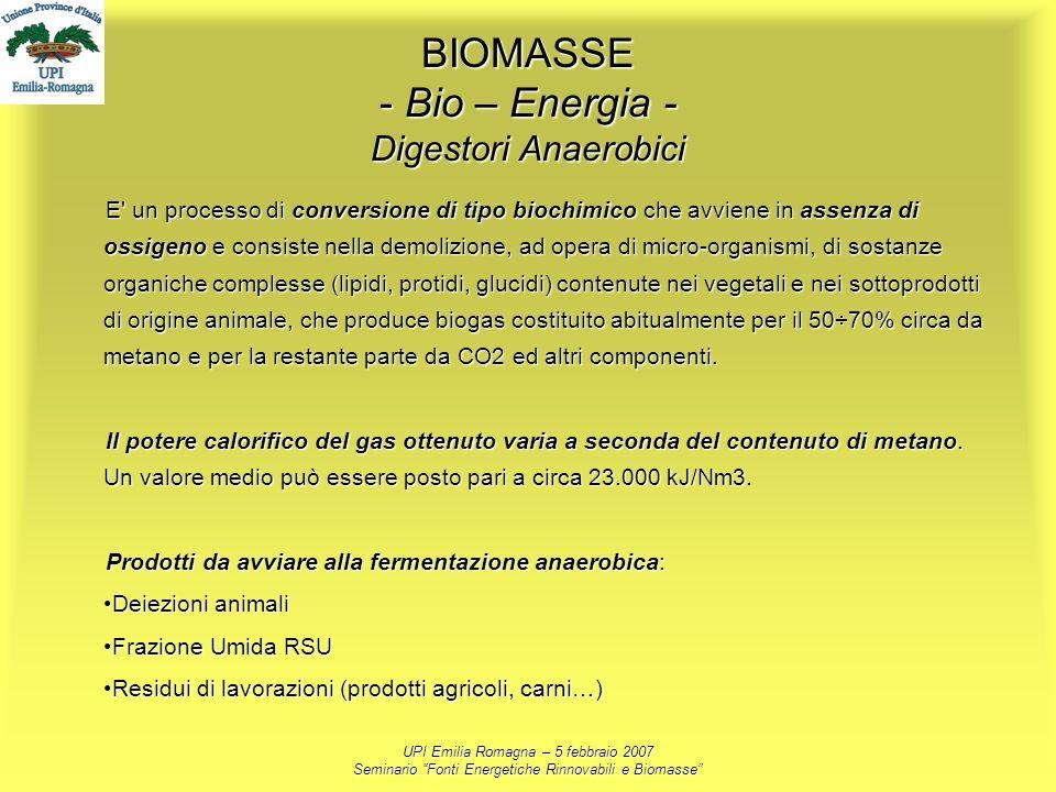 BIOMASSE - Bio – Energia - Digestori Anaerobici