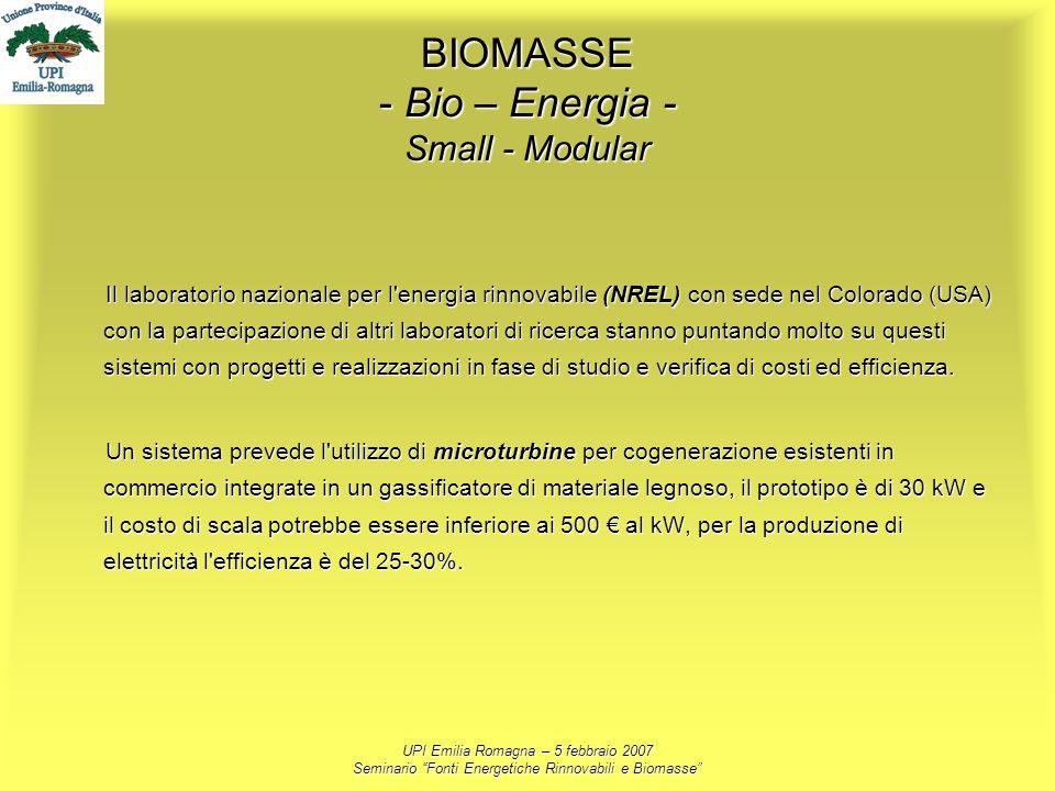 BIOMASSE - Bio – Energia - Small - Modular