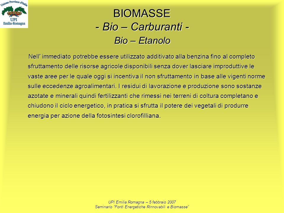 BIOMASSE - Bio – Carburanti - Bio – Etanolo