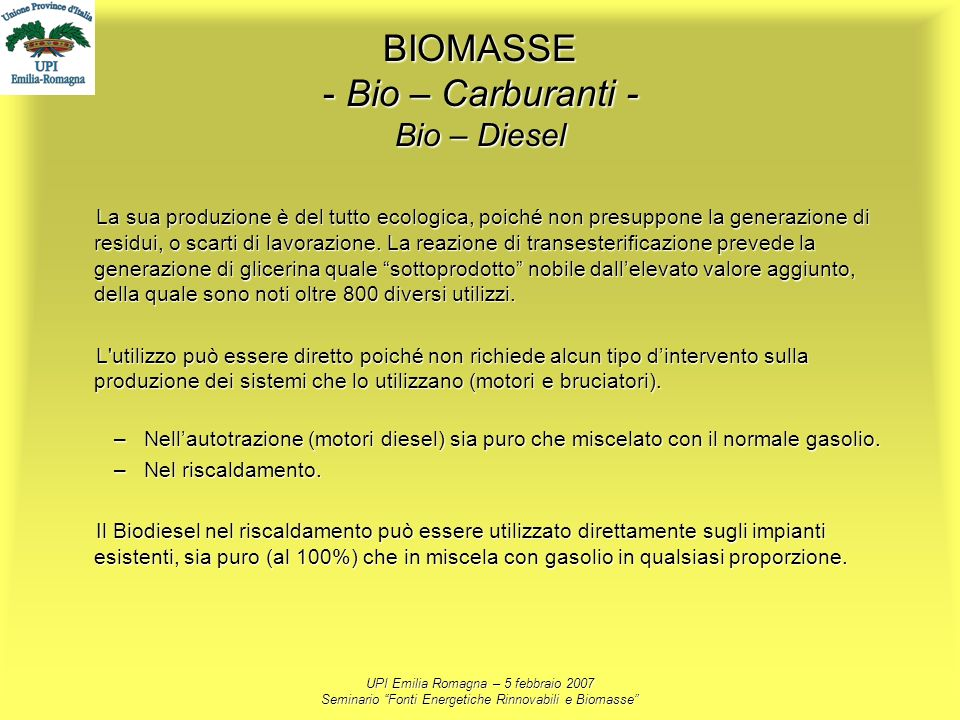 BIOMASSE - Bio – Carburanti - Bio – Diesel