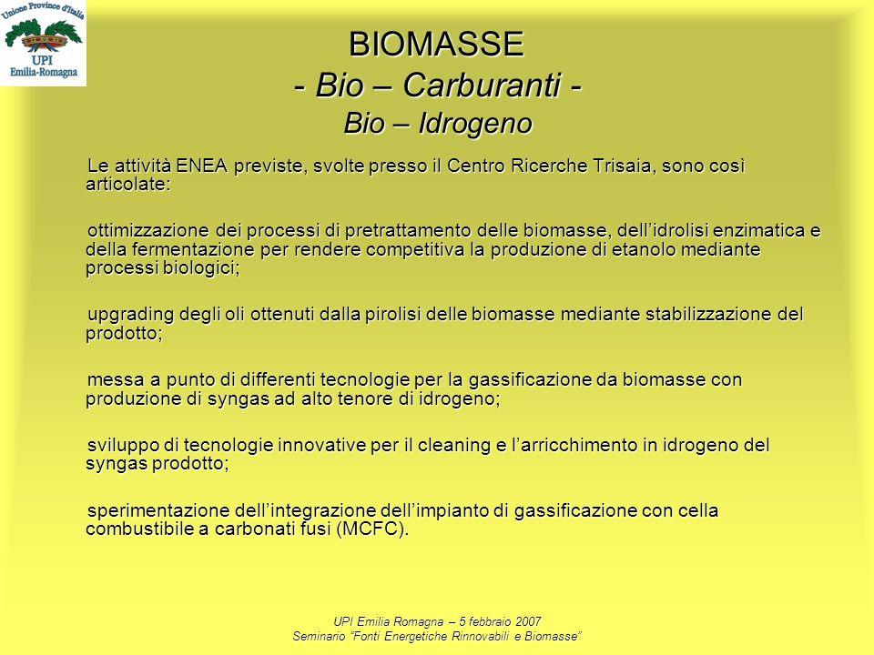 BIOMASSE - Bio – Carburanti - Bio – Idrogeno