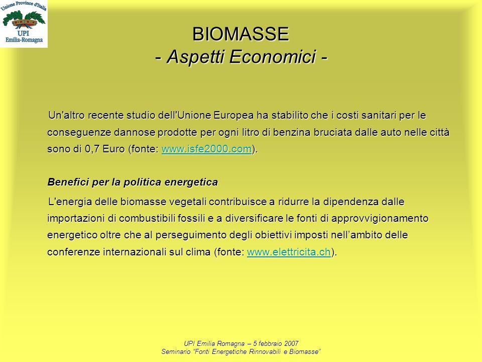 BIOMASSE - Aspetti Economici -