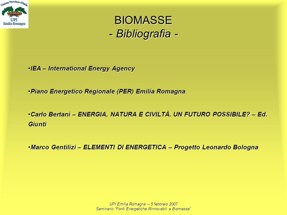 BIOMASSE - Bibliografia -