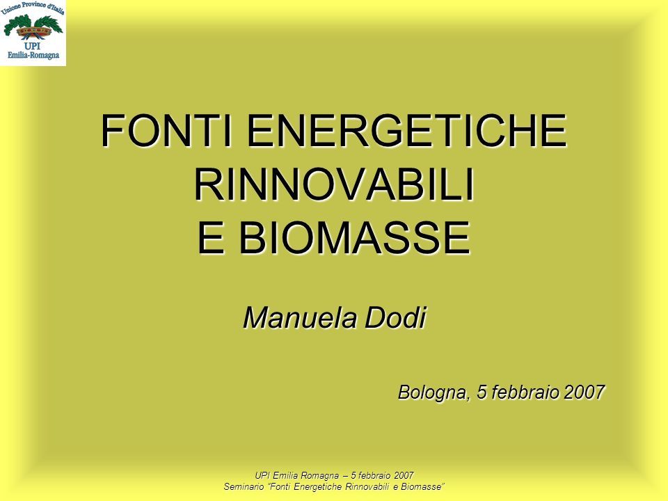 FONTI ENERGETICHE RINNOVABILI E BIOMASSE Manuela Dodi
