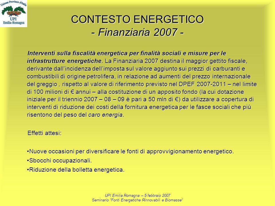 CONTESTO ENERGETICO - Finanziaria 2007 -