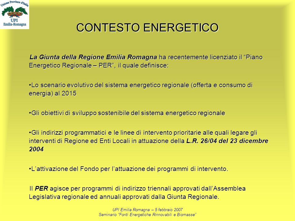 CONTESTO ENERGETICO La Giunta della Regione Emilia Romagna ha recentemente licenziato il Piano Energetico Regionale – PER , il quale definisce: