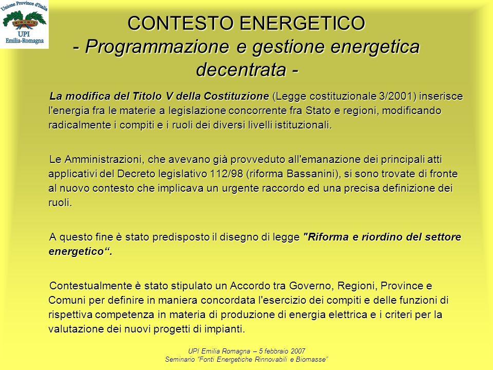 CONTESTO ENERGETICO - Programmazione e gestione energetica decentrata -