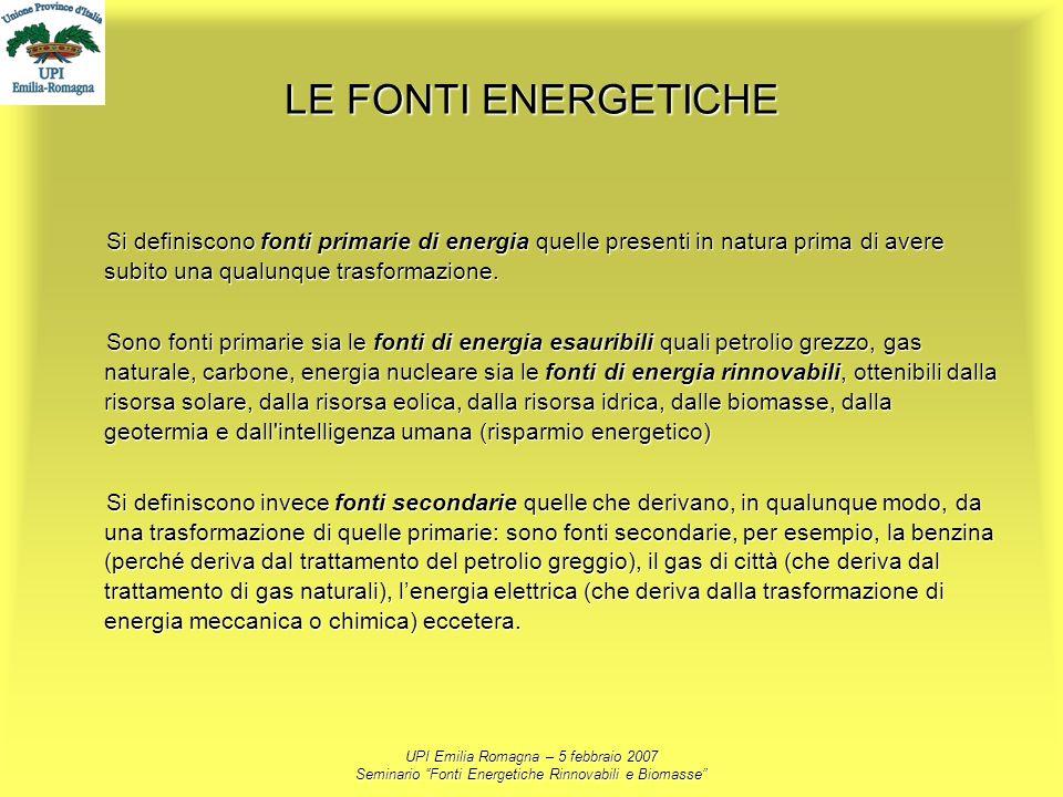 LE FONTI ENERGETICHE Si definiscono fonti primarie di energia quelle presenti in natura prima di avere subito una qualunque trasformazione.